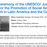 UNESCO/ Juan Bosch Prize for the Promotion of Social Sciences Research in LAC: Manuel Olivera Andrade