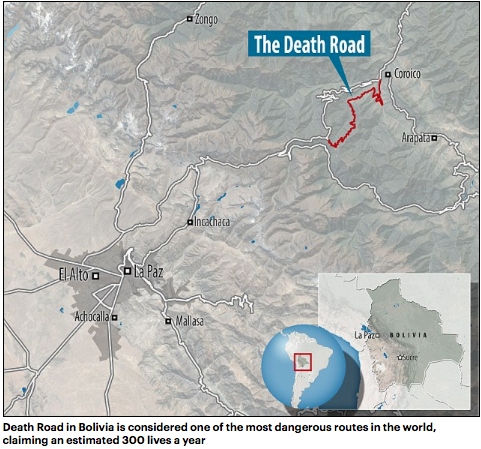 Cyclist plunges off 300ft cliff along Bolivias Death Road after