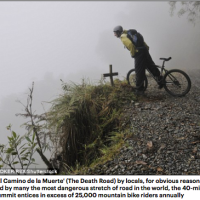 Cyclist plunges off 300ft cliff along Bolivia's Death Road after losing control of her bike... but miraculously SURVIVES after landing on a tiny ledge