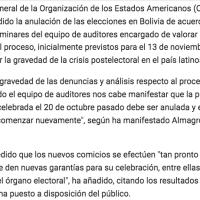 VICTORIA! La OEA llama a la repetición de elecciones en Bolivia - OAS rules new elections!